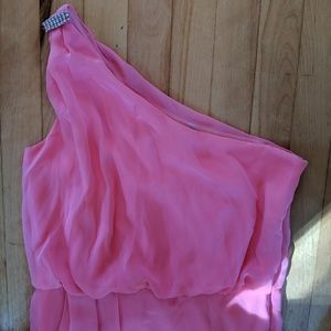One shoulder pink coral dreaa